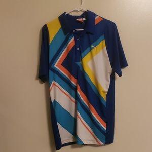 *Puma* Golf Polo~ Blue striped~USP DRY~ Sz M
